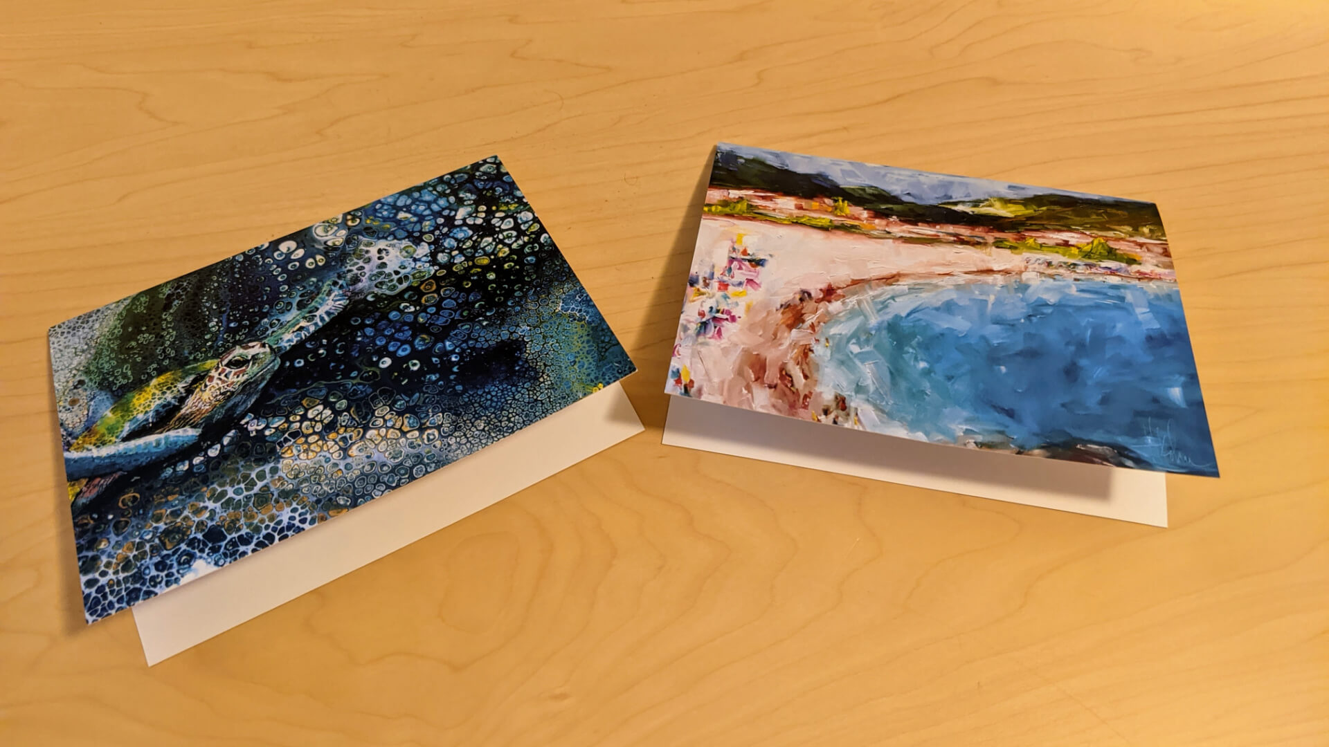 Greeting cards side-by-side